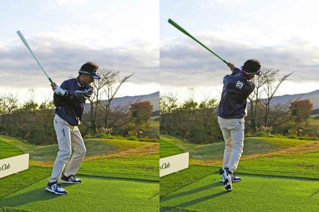 画像: 重くて長いものを腕力だけで振るのは難しい。つまり、全身を使ってタイミングよく振る動きが身につくので、軸がズレにくくなり打点も安定する