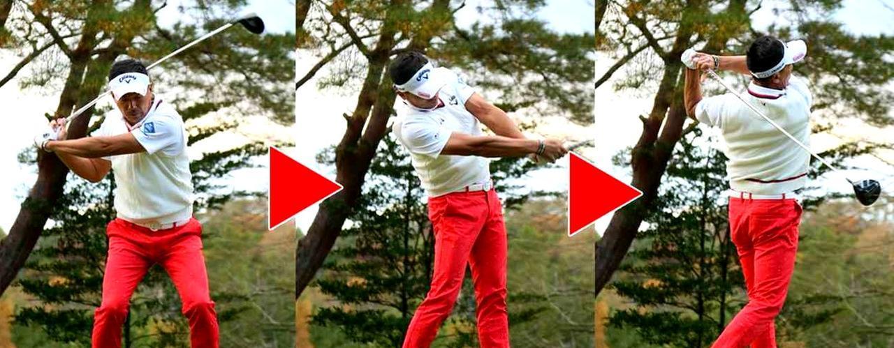 画像: 足を積極的に使うことで、速く振る力を得た南出。腕力や筋力に頼らなくても「地面反力を使えばまだまだ速く振れる可能性があると確認できました」(南出)