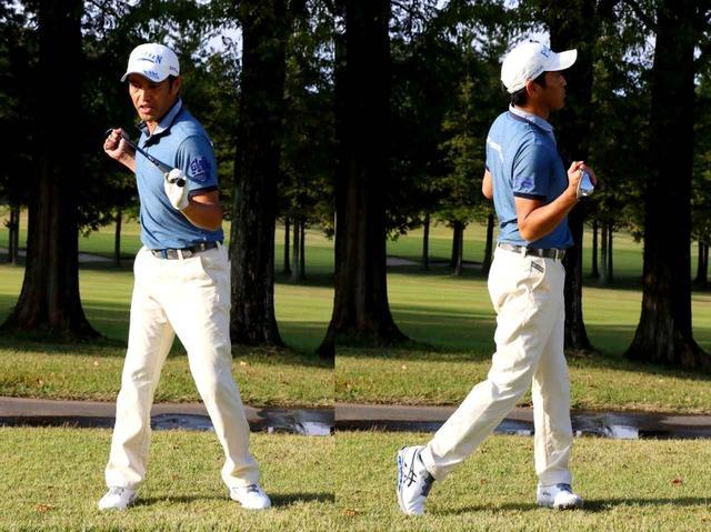 画像: A3. 手をあまり使わず体の水平回転で打ちましょう! リストコックを抑え、肩、腰を水平に回すのがポイントです