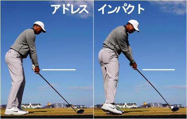 画像: 2本の白いラインは同じ高さ。インパクトで手がほとんど浮いていない