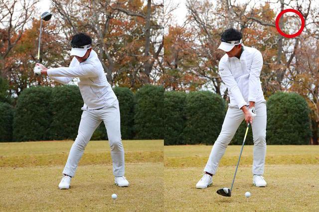 画像: ベタ足になっていても上半身で打ちにいくと、左腰が引けて体が開いて手元が浮く。しっかり左足に踏み込んで、胸の向きを右サイドに向けたまま振り下ろします