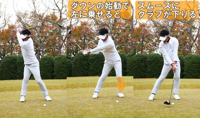 画像: ダウンの始動で左足つま先側を踏み込む。このとき、左足内側にテンションを感じると左腰が引けずにしっかり手元が下がったインパクトを迎えられます