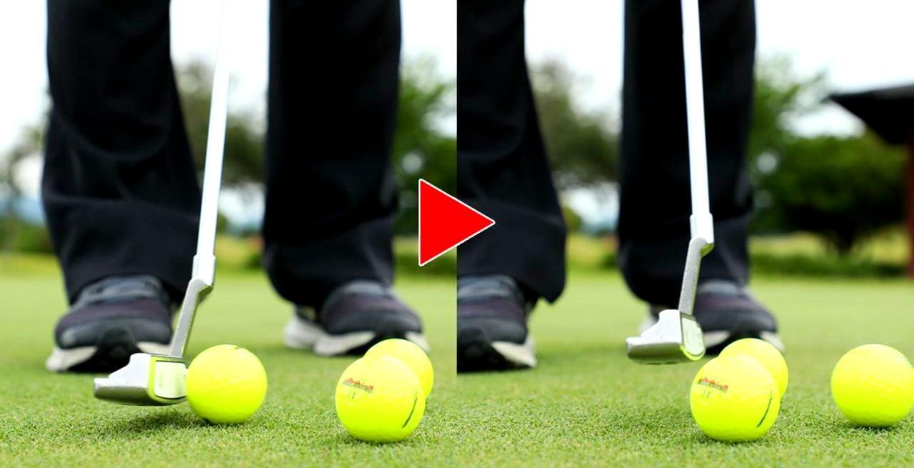 画像: ヘッドもボールも、左右2つのボールには当たらない
