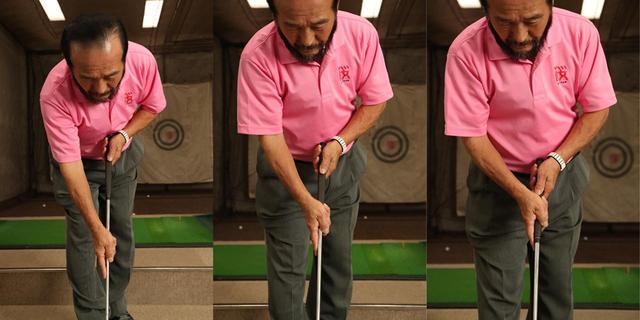 画像: 「距離感は、カップを狙ってボールを投げる感覚を大事にしてほしいですが、両手を離して握るのもイイ。短いパットほど、両手の間隔を長くするとやりやすいです」