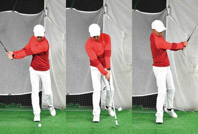 画像: トップでしっかり右サイドに体重を乗せる感覚がつかめます。左足はつま先立ちで支える程度