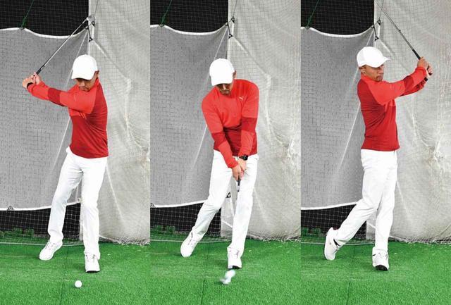 画像: 右足1本と同様、打つ距離は50ヤードほどでOK
