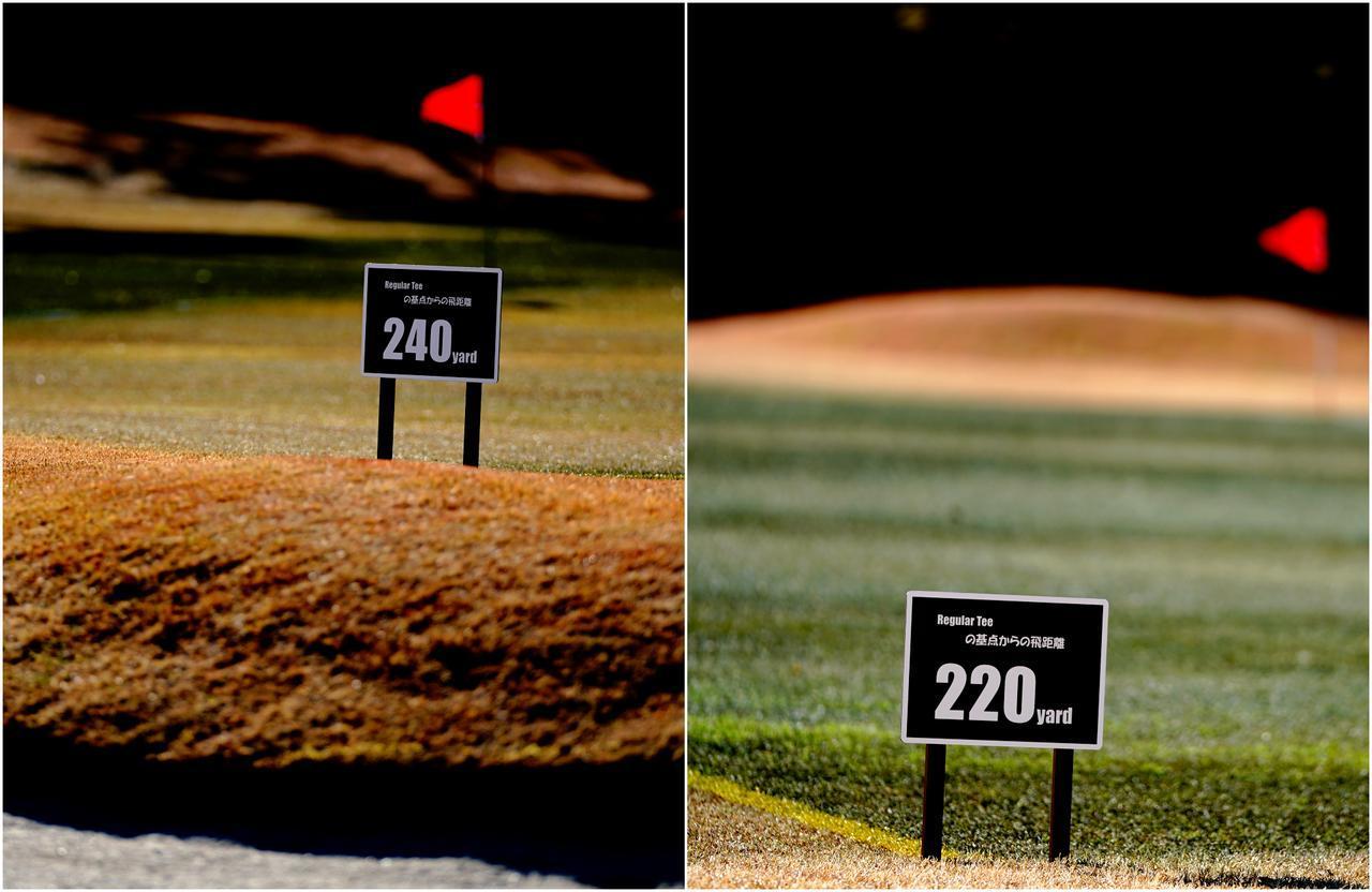 画像: ストライプは10ヤード間隔、飛距離ボードは20ヤードごとに