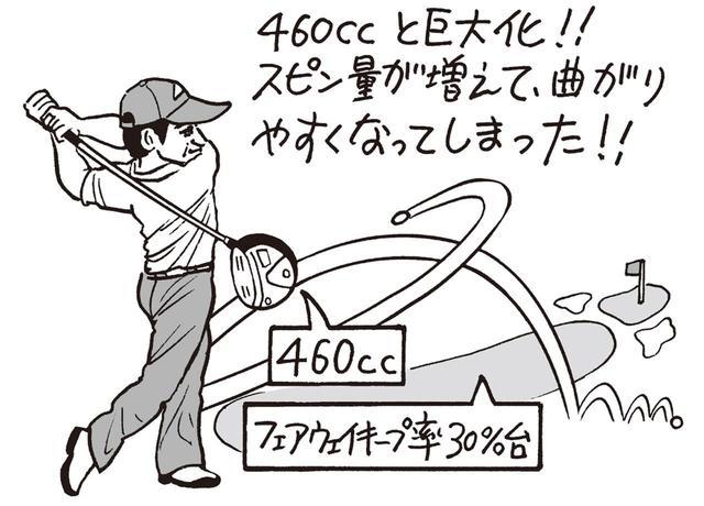 画像: 2014年ころから、ドライバーのヘッドは460ccと大型化。スピン量が増えて、曲がりやすくなってしまった