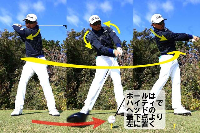 画像: 左足のつま先がめくれるほど左お尻を突き出し、腰を回転させることで、側屈が使え、肩はタテに動くようになる