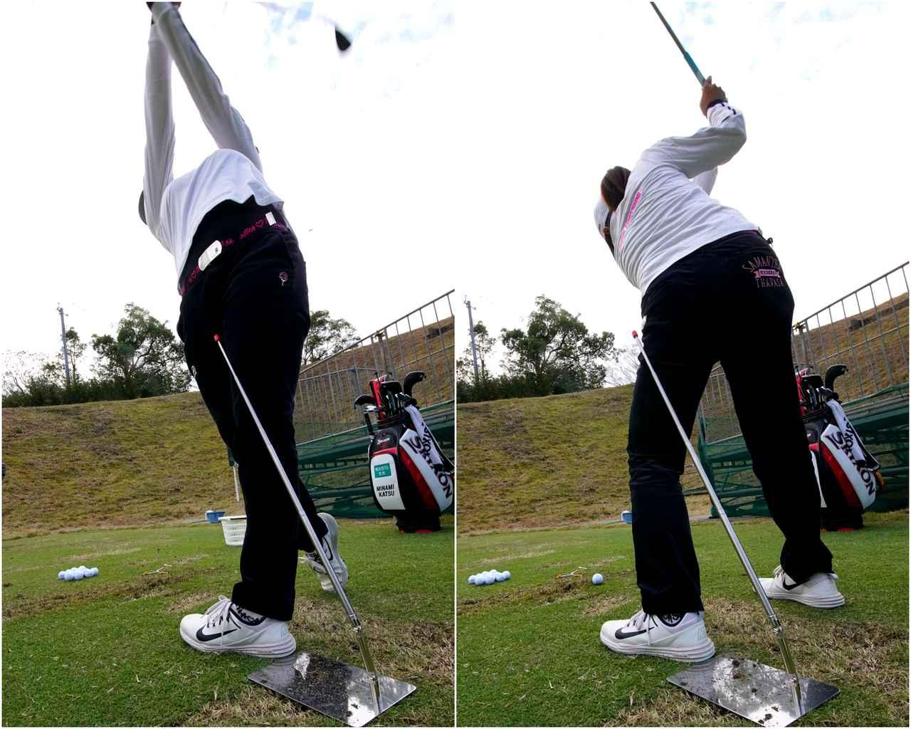 画像: 体が左右に流れると、スムーズな軸回転が難しい。スウェイしやすい左サイドに置く