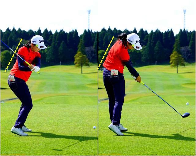画像: 前傾角度が安定すると、ボールへの入射角度が揃ってショット精度が高まる
