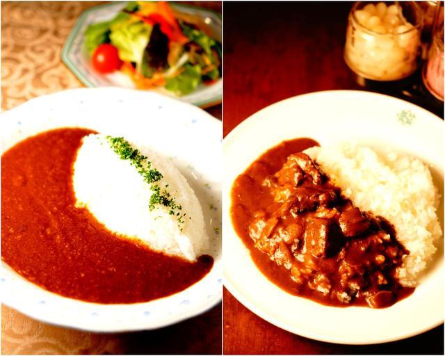 画像: (右)淡路の玉ねぎと和牛、バターが決めて、鳴尾GCのカレー (左)会員の試食会を経て生まれた味、垂水GCのビーフカレー