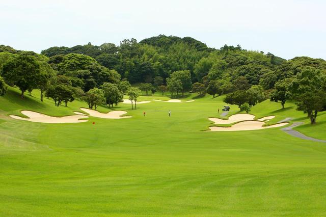 画像: 大原・御宿ゴルフコース15番(ベントG 537Y・P5)「バンカーが蝶のように舞う」と表現した