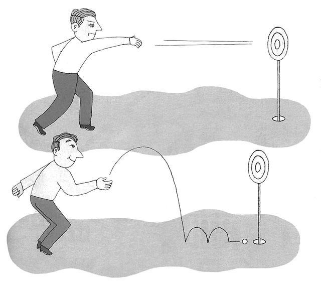 """画像: 1パット狙いは早い球で的に当てるようなもの。的(カップ)を外せば返しが長くなり、入っても入らなくてもダメージを受ける。下から""""ボーン""""と放れば、残るは「お先に」の距離。次のホールへすぐに気持ちを切り替えられる"""