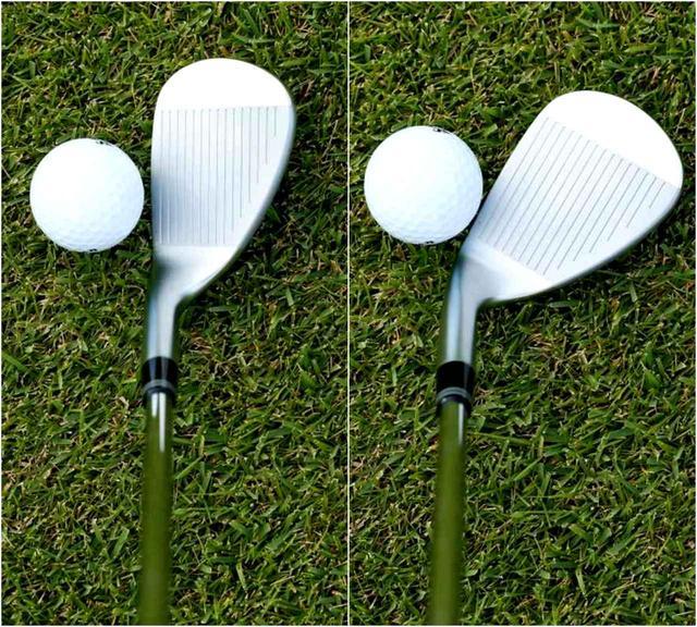 画像: スクェアはボールを包み込むように、オープンはリーディングエッジが浮きすぎずフェースに乗るイメージ