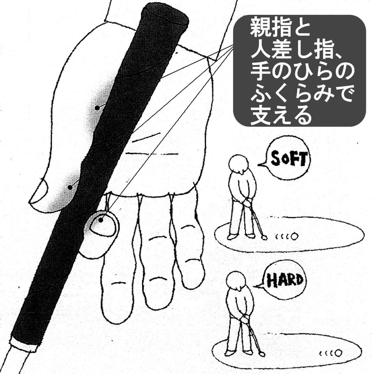画像: 右手の親指と人差し指の力加減によって距離を打ち分けられる。短い距離はソフトに、長い距離は強く。振り幅は考えず、出球のスピードをイメージ