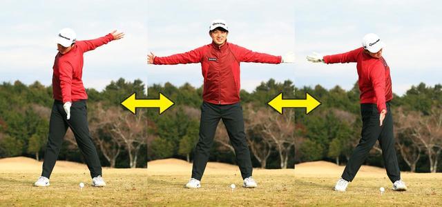 画像: 両手を広げた状態から前傾、左右に体を回転。腕は広げたまま胸が開いた状態をキープ。肩が縦に回転する感覚も同時に得ることができる