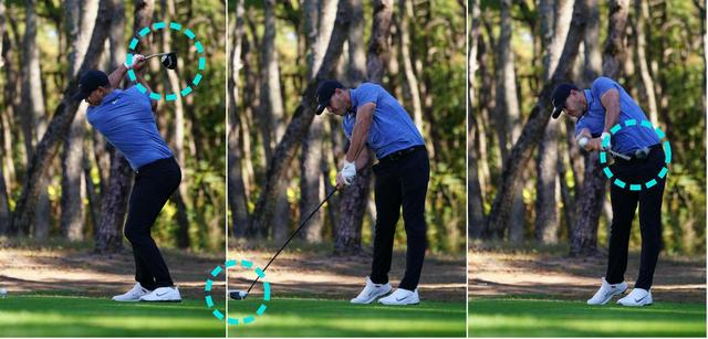 画像: (左)フェースを開かずテークバックすると、フェースは上空を向く (中)感覚に頼らないのでインパクトの再現性が高い (右)フェースローテーションの度合いが少ない
