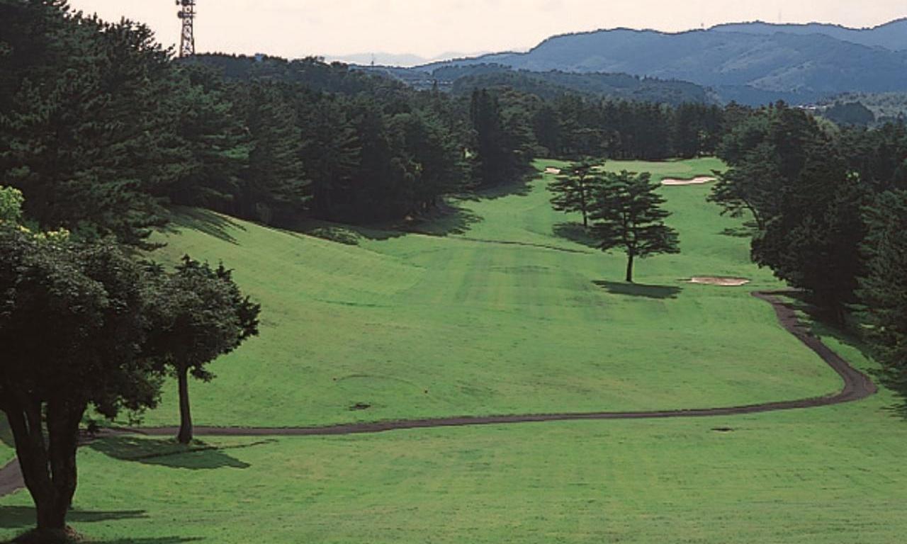 画像: 15番ホール/367㍎/パー4  豪快に打ち下ろしていくが、右斜面のフェアウェイは2本の松がそびえ正確なショットが求められる。2打以降は打ち上げになり距離感が難しい
