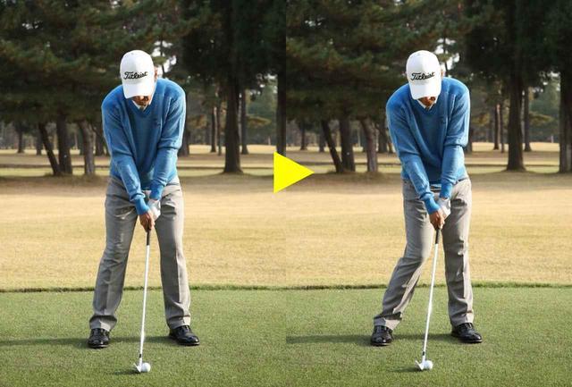 画像: 左がアドレス、右がインパクト。違いは腰の開き。インパクトで左肩が開かないように注意しましょう。