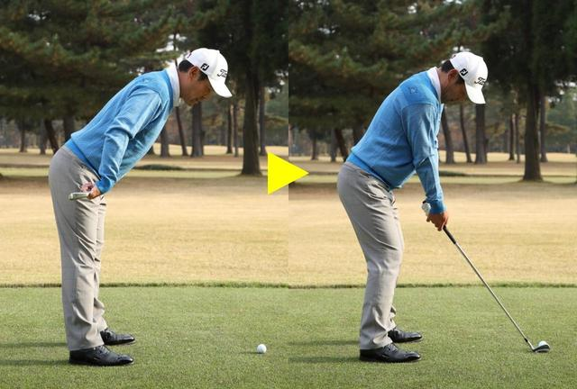 画像: ひざを伸ばして股関節から前傾し、腕を真下に垂らしたところでグリップ。最後にひざをゆるめて曲げます