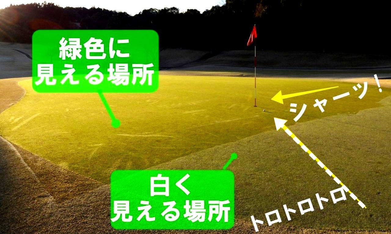 画像: 白い場所はシャーベット状に霜が凍った状態。緑色の場所は速い