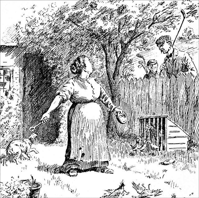 画像: ボールが庭に飛び込んで、怒るお母さん