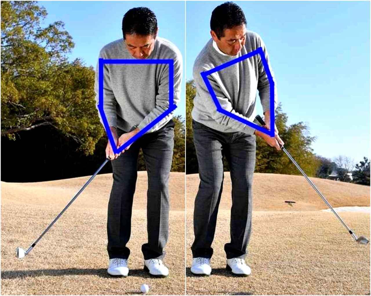 画像: 使用するのは9I。パッティングと同じで両肩とグリップで作った五角形を崩さず肩の動きでストローク