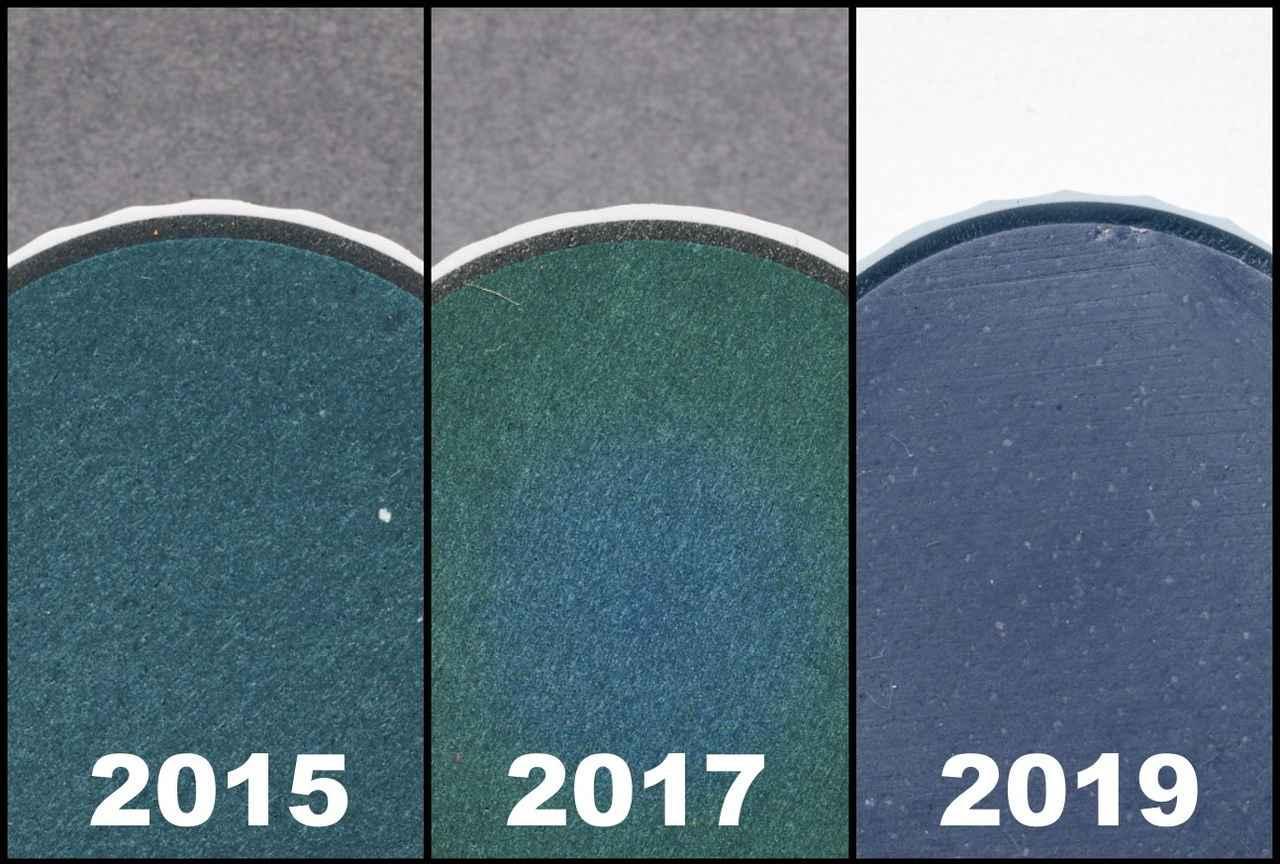 画像: (2015)カバーの変更でスピン性能がアップ (2017)コアとディンプルの改良で弾道が安定 (2019)新配合コア素材でボール初速が向上