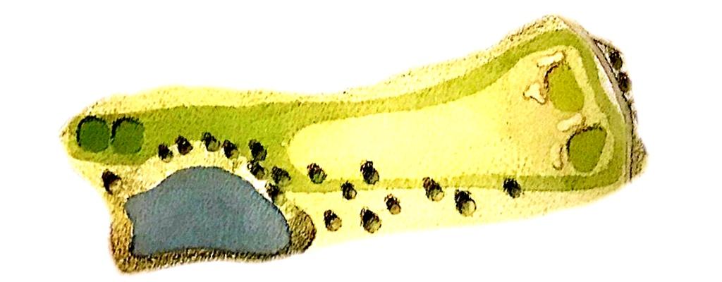 画像: フラットなパー4(右グリーンが白、左グリーンが黄色)