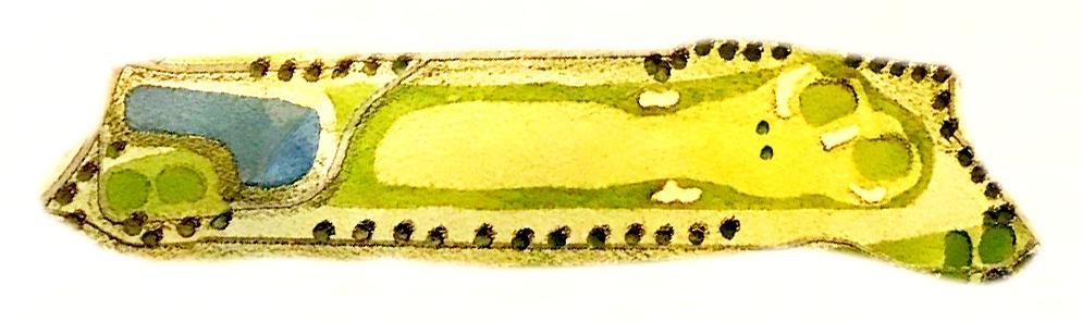 画像: フェアウェイに生えている木がポイント。右が白グリーン、左が黄グリーン