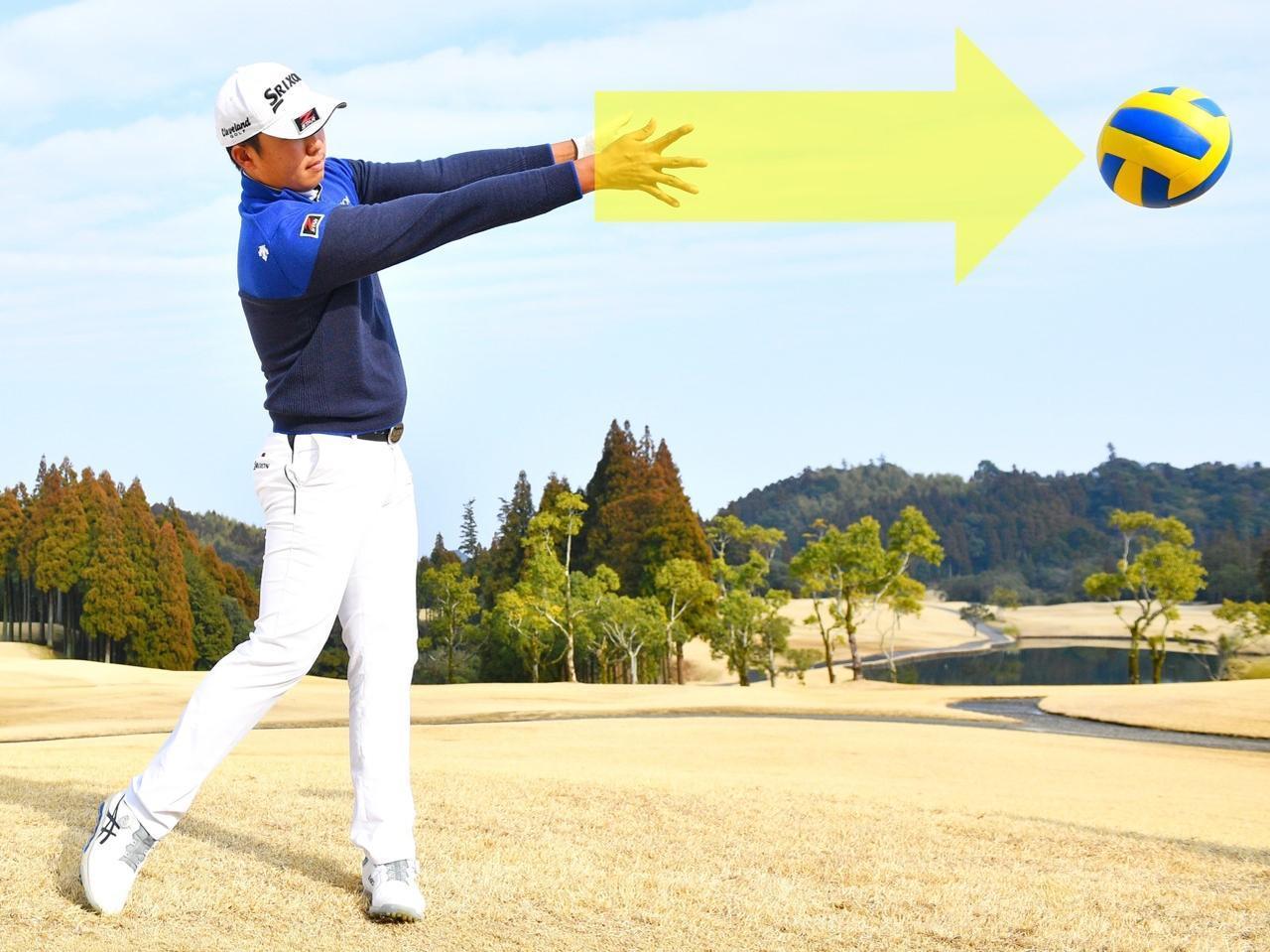 画像: 力の向きは、ボールを投げるときと一緒