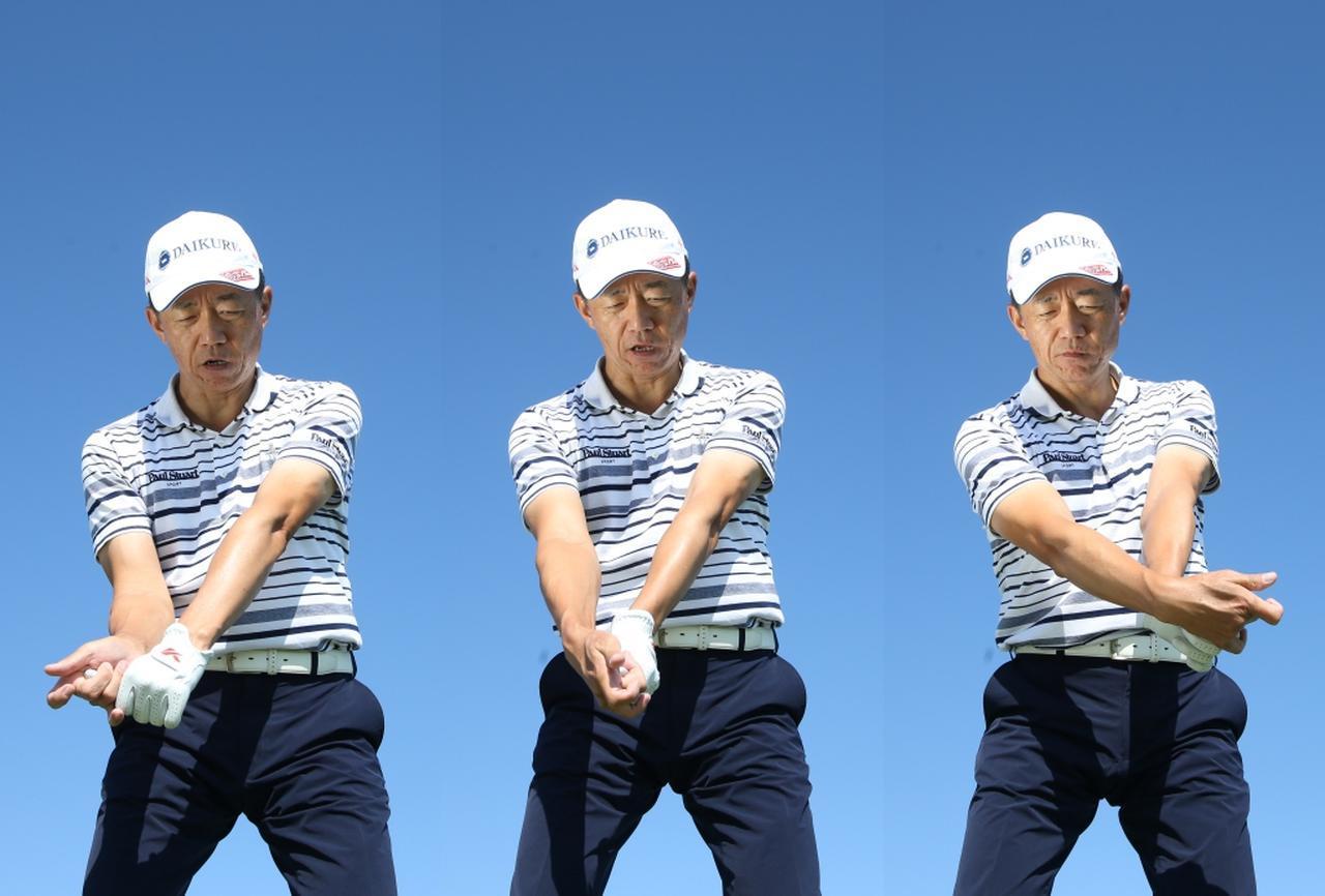 画像: インパクト直後に手を止めて、左手甲を外側に折るイメージです