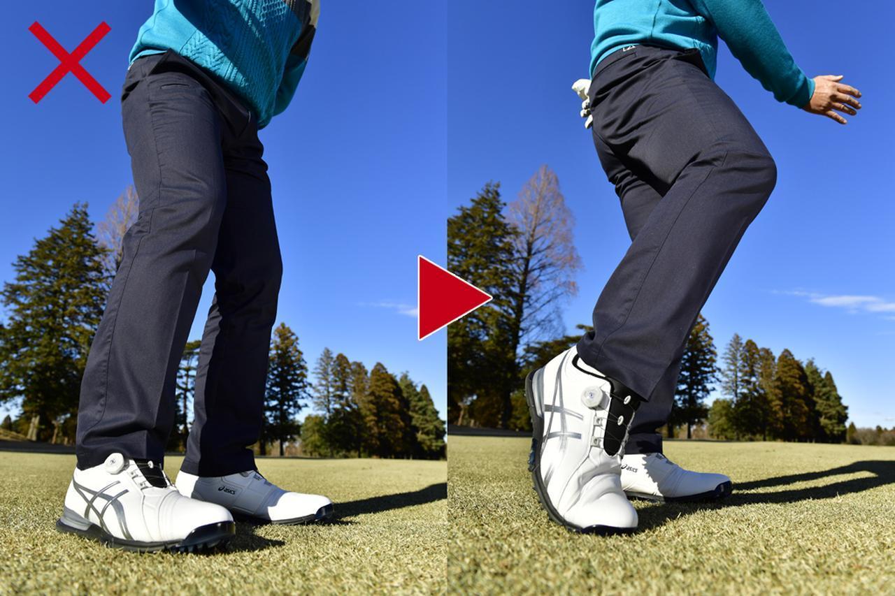 画像: 右ひざが前に出ると体が開いてしまう