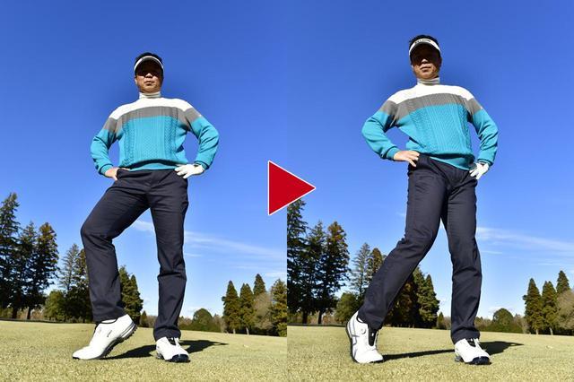 画像: ダウンスウィングからフォローにかけて、右の股関節を内旋させるのが正しいフットワーク。上の写真のように、つま先を軸に、太ももごと右ひざを内側に向ける動作だ