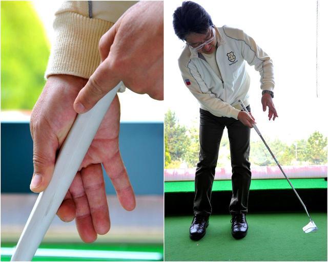 画像: 利き手の親指、人差し指は感覚に優れる。ここでパターの重さを感じれば、距離に応じたヘッド速度の調整が可能となります。ぜひ試してみてください