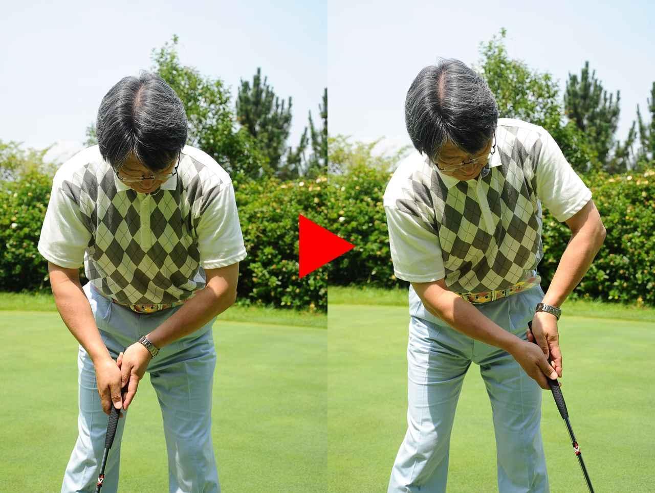 画像: 「通常の長さのパターで腕の五角形を保とうとすると、軌道がぶれやすい。肩やひじの関節がそれぞれ独立しているので、その形を保とうとすると、力が入るため。そういう人には中尺パターが合うはずです」