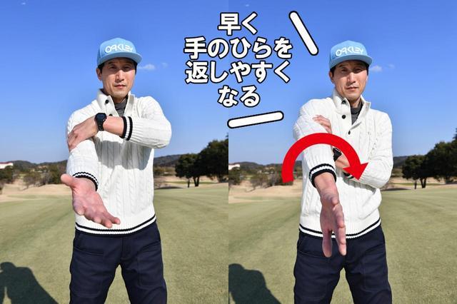 画像3: ドローは、切り返しと同時に右腕を内側へねじる