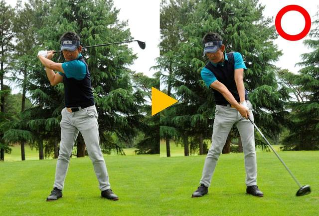 画像: 球を後ろから「押し込む」動きだとクラブがタテに下りてスピードが出る