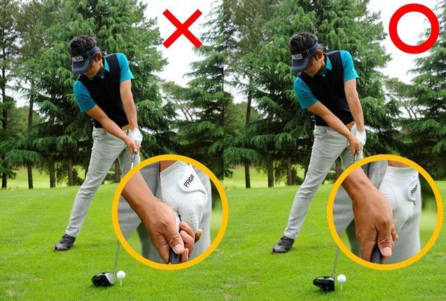 画像: 頭を右に残そうと上体を傾ければフェースが開く。スクェアなインパクトにはフェースターンが欠かせない