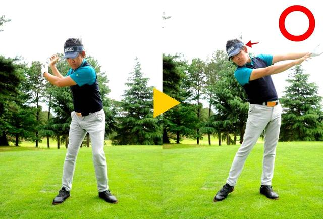 画像: クラブを放り投げるように「球を押す」動き
