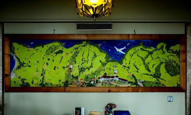 画像: K・Shigeokaのサインが入る、富士コース、大島コース、川奈ホテルの鳥観図