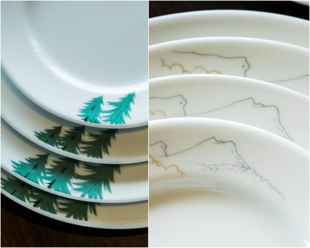画像: 食器の柄は繁岡のスケッチが原型