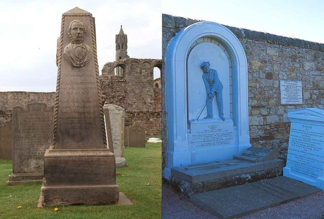 画像: (左)アラン・ロバートソンの墓 (右)トム・モリス親子の墓。左側のレリーフは息子のもの