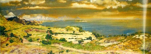画像1: 現在もホテルロビーに飾られている初期の川奈を描いた日本画。造成中の富士コースと大島コース。中央部分がホテル予定地。このころ、大島コースにはコテージがあり、ゲストハウスとして使われていた