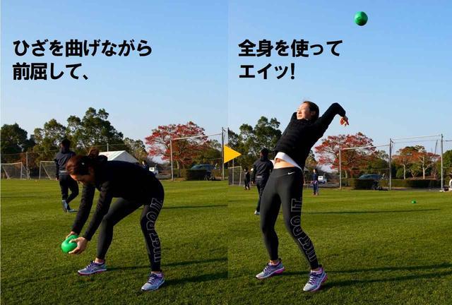 画像: 後ろに伸び上がることで「床反力」が体感できる。両足で地面を押して、体にパワーが伝わる感覚が分かるそう