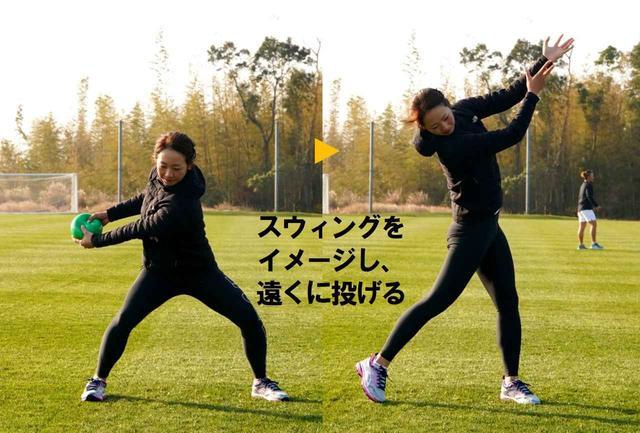 画像: メディシンボールの「ヨコ投げ」も。真下に沈み込むようにしながら、右に上体を回転させる。そこからお腹に力を入れ、下半身の伸び上がる力を利用して、上体を左に回しボールを投げる