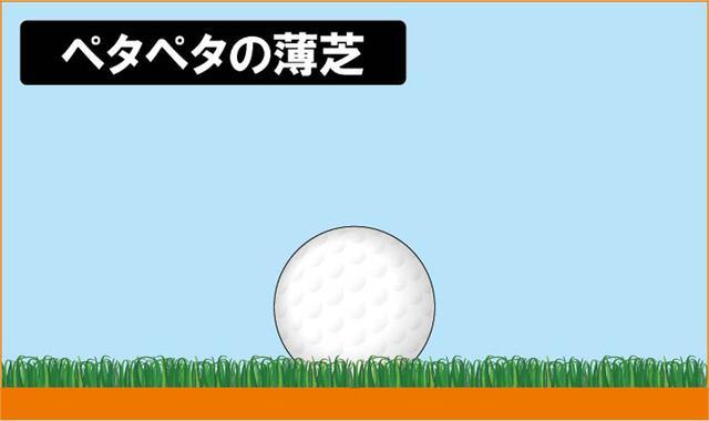 画像: 芝が薄く隙間がなく絶好のライ