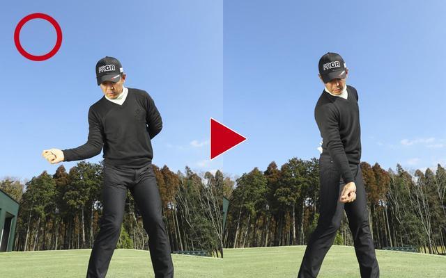 画像2: 右手を「横から」持つと、右ひじがいい位置に収まる