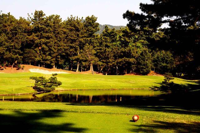 画像: 14番ホール/152㍎/パー3 距離的には難しくはないが、グリーンの右側まで池が広がる